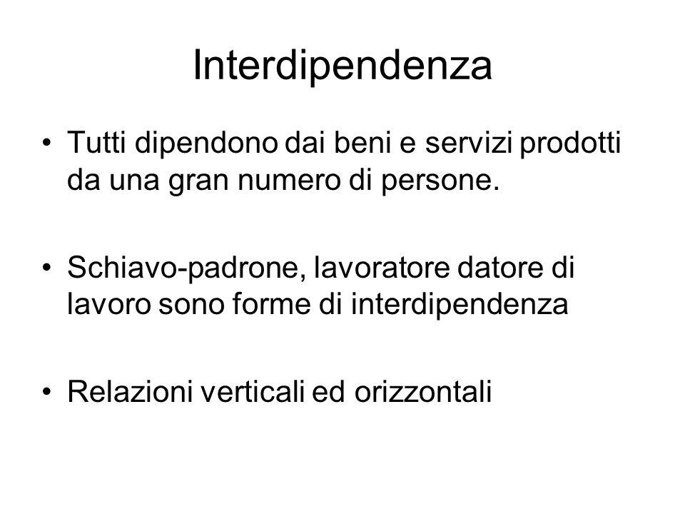 Interdipendenza Tutti dipendono dai beni e servizi prodotti da una gran numero di persone.