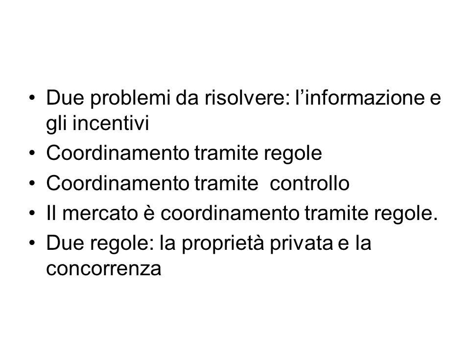 Due problemi da risolvere: l'informazione e gli incentivi