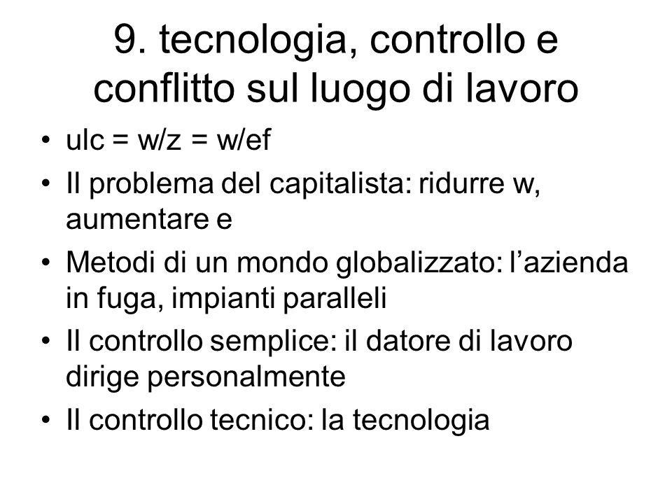 9. tecnologia, controllo e conflitto sul luogo di lavoro