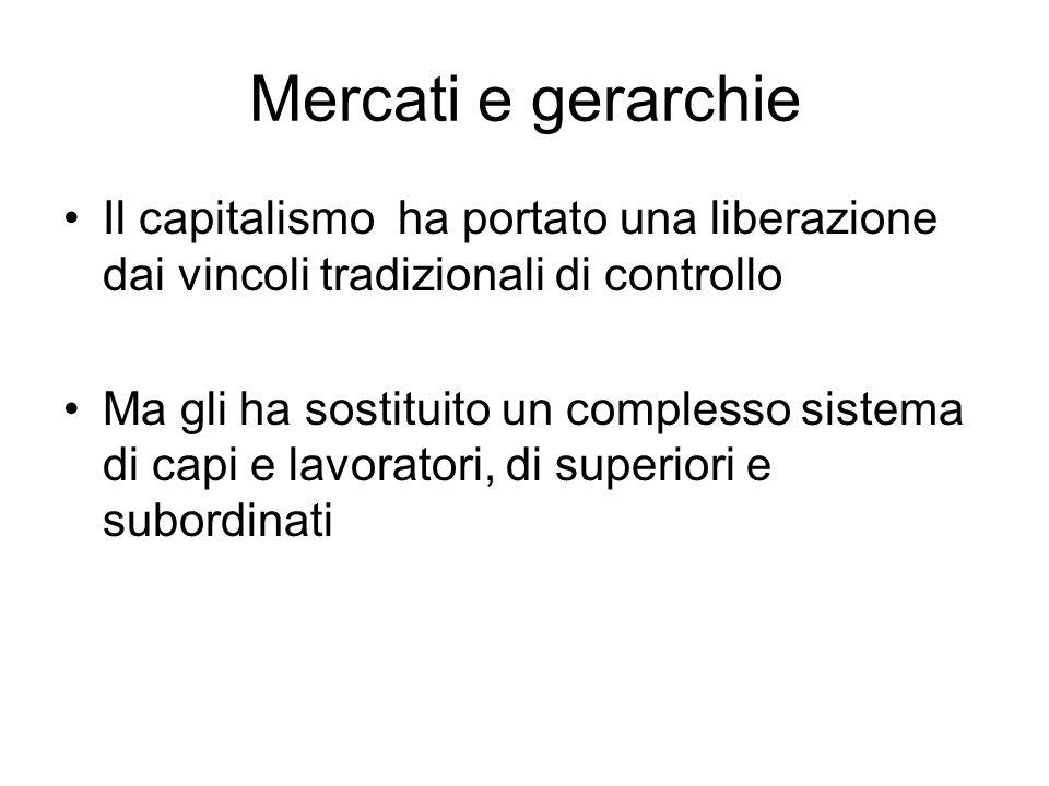 Mercati e gerarchie Il capitalismo ha portato una liberazione dai vincoli tradizionali di controllo.