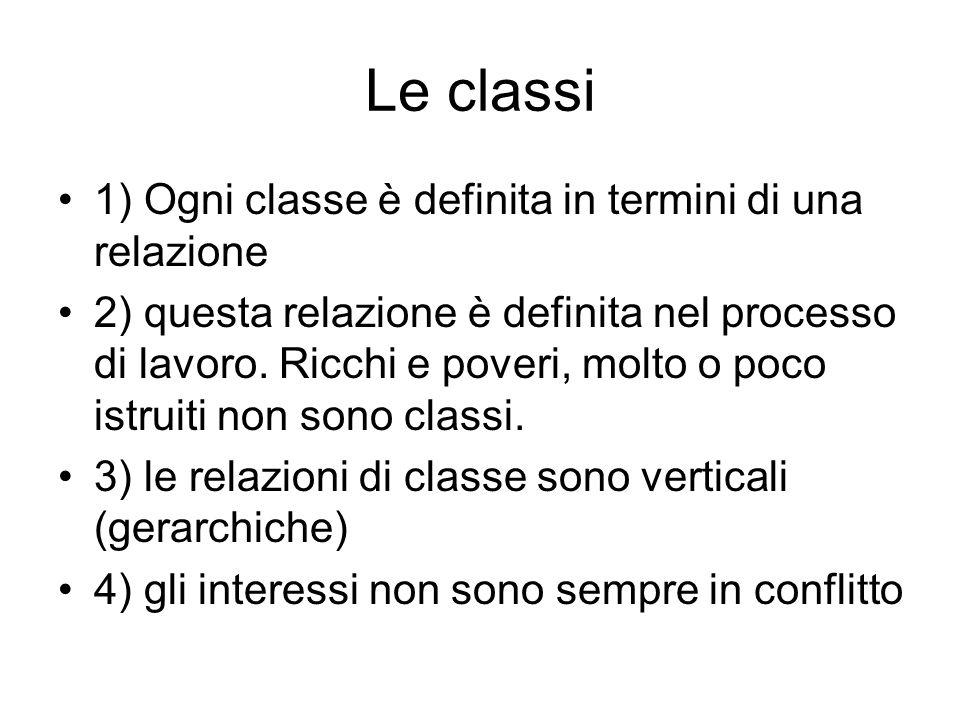 Le classi 1) Ogni classe è definita in termini di una relazione