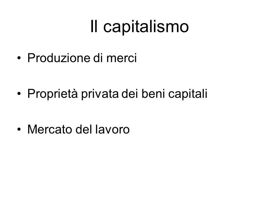 Il capitalismo Produzione di merci Proprietà privata dei beni capitali