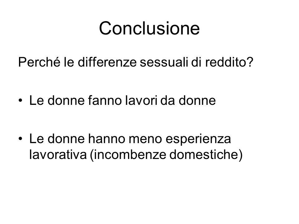 Conclusione Perché le differenze sessuali di reddito