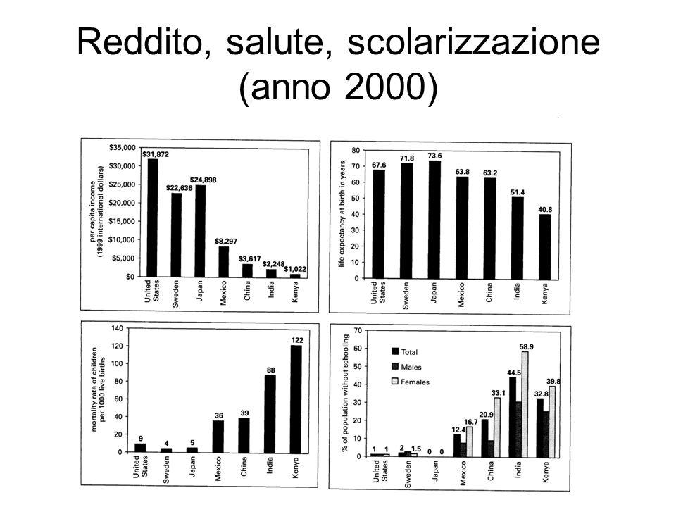 Reddito, salute, scolarizzazione (anno 2000)