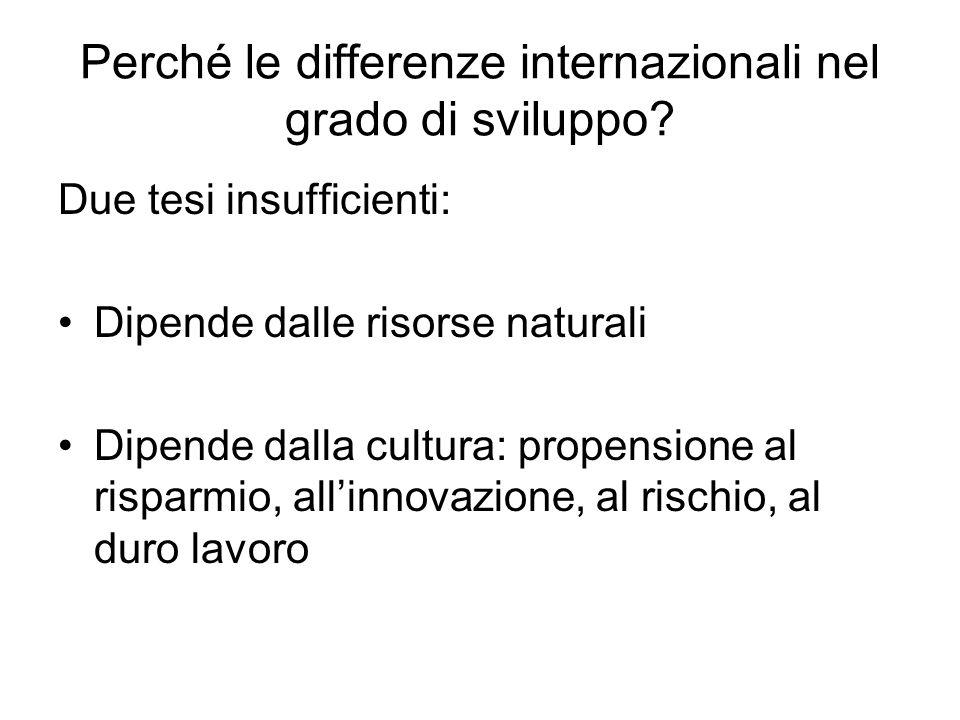Perché le differenze internazionali nel grado di sviluppo