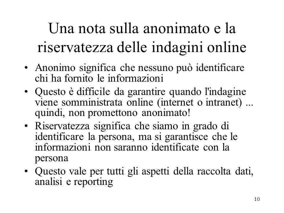 Una nota sulla anonimato e la riservatezza delle indagini online