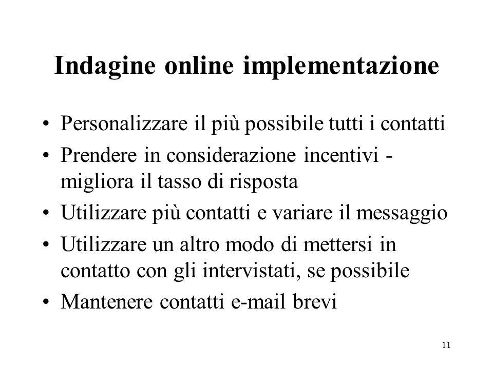 Indagine online implementazione