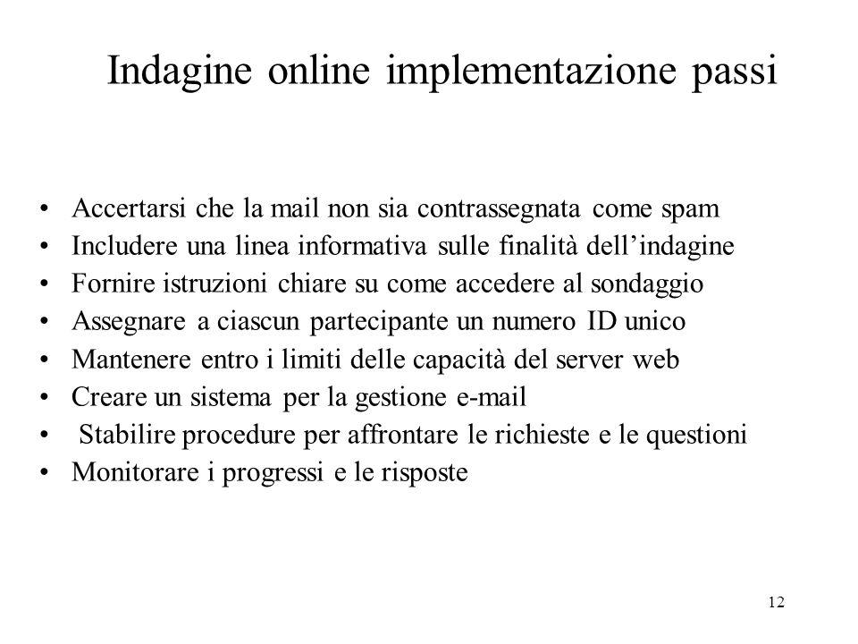 Indagine online implementazione passi