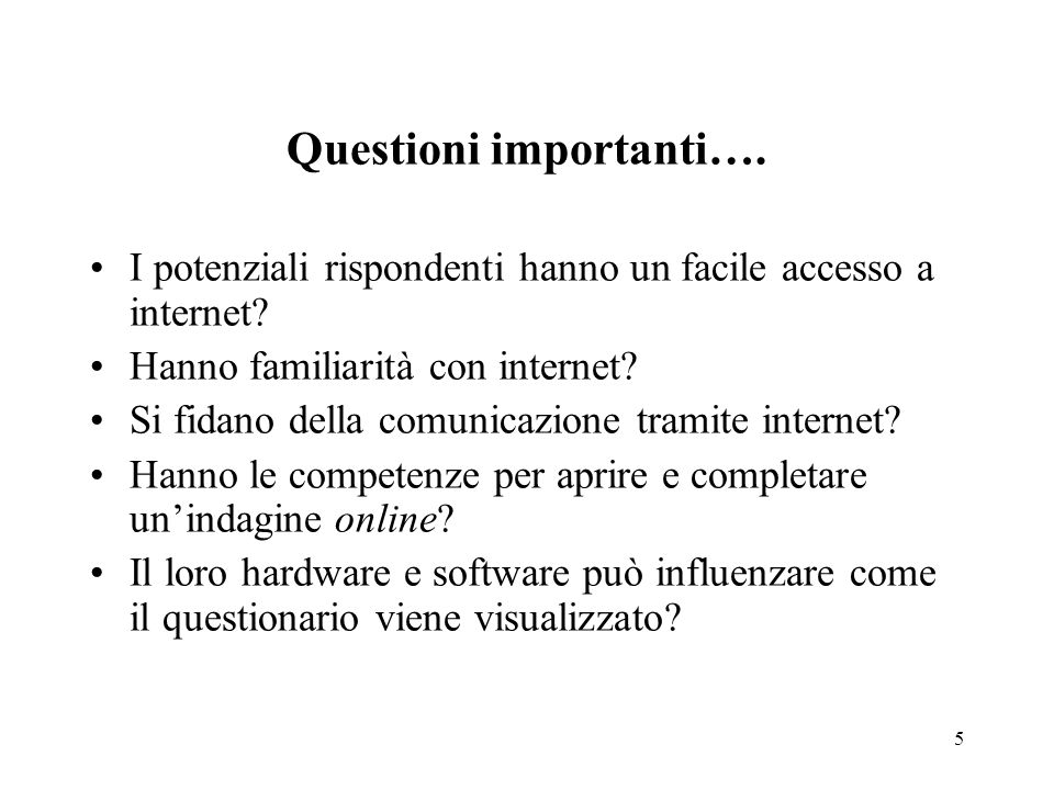 Questioni importanti….