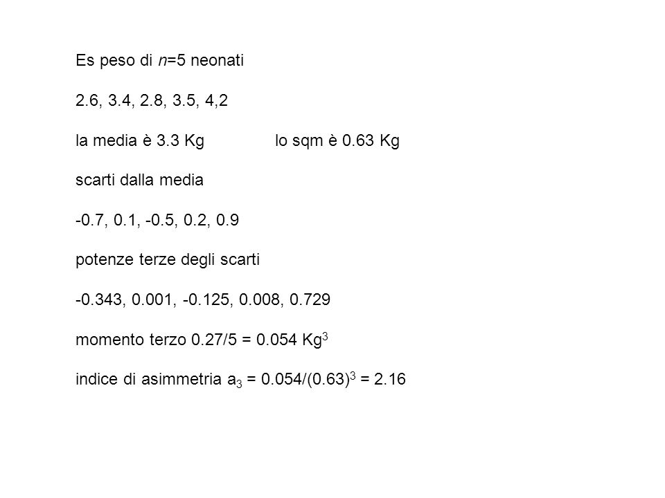 Es peso di n=5 neonati2.6, 3.4, 2.8, 3.5, 4,2. la media è 3.3 Kg lo sqm è 0.63 Kg. scarti dalla media.