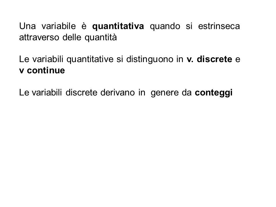 Una variabile è quantitativa quando si estrinseca attraverso delle quantità
