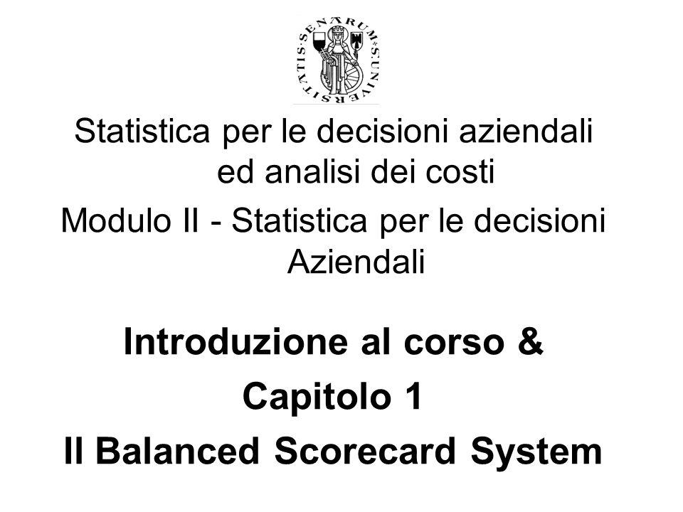 Introduzione al corso & Il Balanced Scorecard System