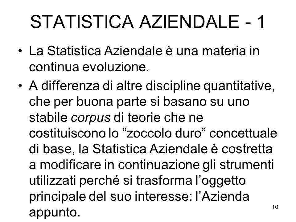STATISTICA AZIENDALE - 1