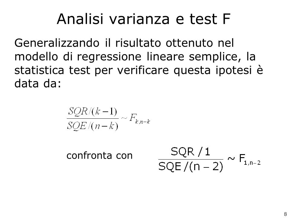 Analisi varianza e test F