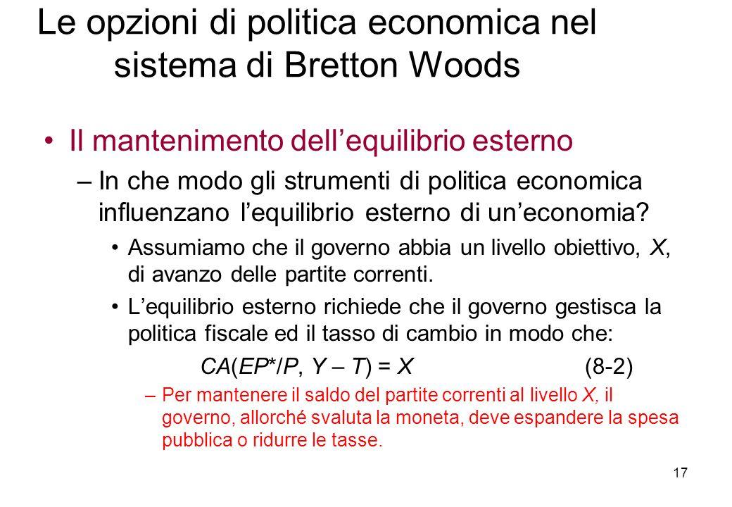 Le opzioni di politica economica nel sistema di Bretton Woods