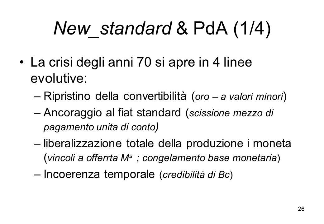 New_standard & PdA (1/4) La crisi degli anni 70 si apre in 4 linee evolutive: Ripristino della convertibilità (oro – a valori minori)