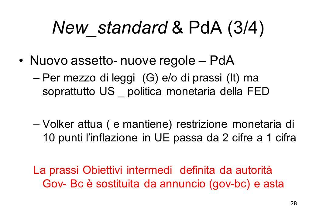 New_standard & PdA (3/4) Nuovo assetto- nuove regole – PdA