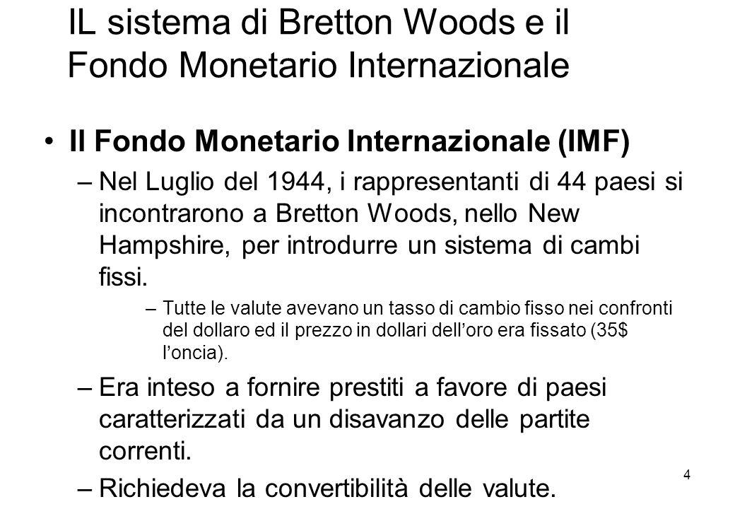 IL sistema di Bretton Woods e il Fondo Monetario Internazionale