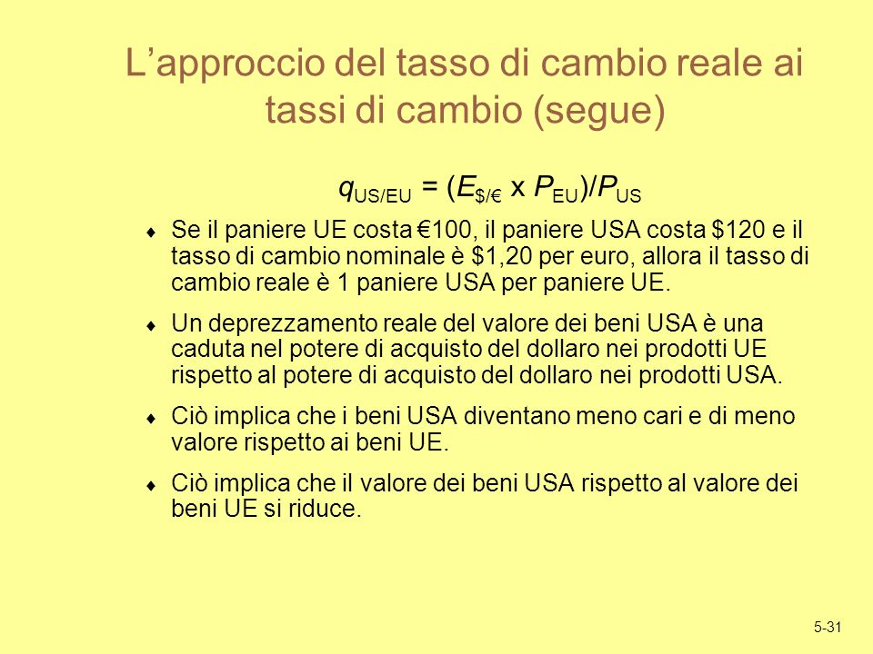 L'approccio del tasso di cambio reale ai tassi di cambio (segue)