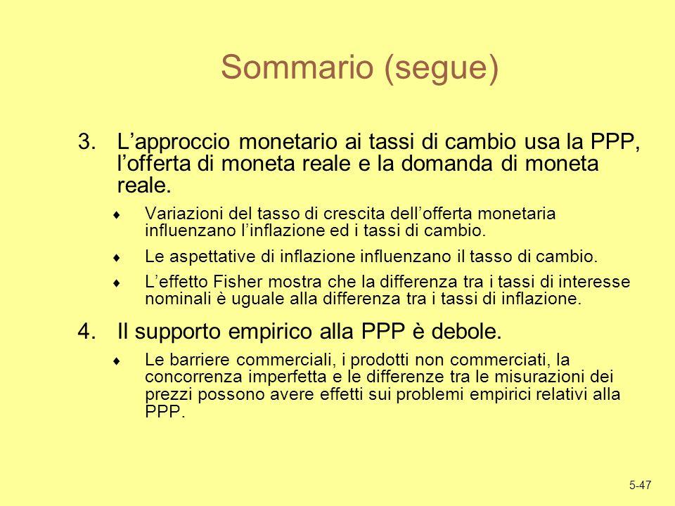 Sommario (segue) L'approccio monetario ai tassi di cambio usa la PPP, l'offerta di moneta reale e la domanda di moneta reale.