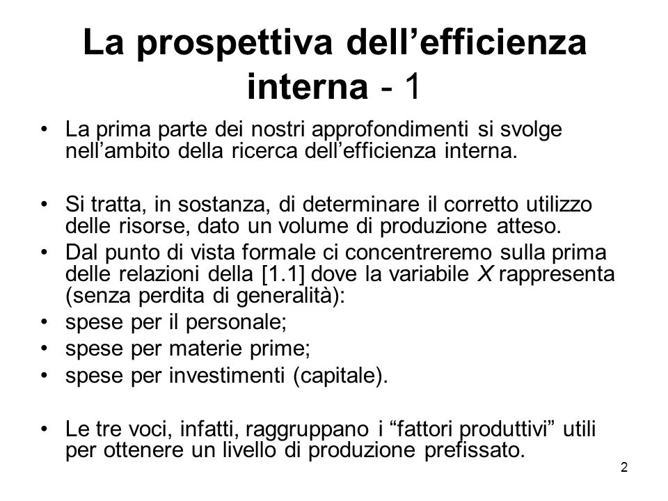 La prospettiva dell'efficienza interna - 1
