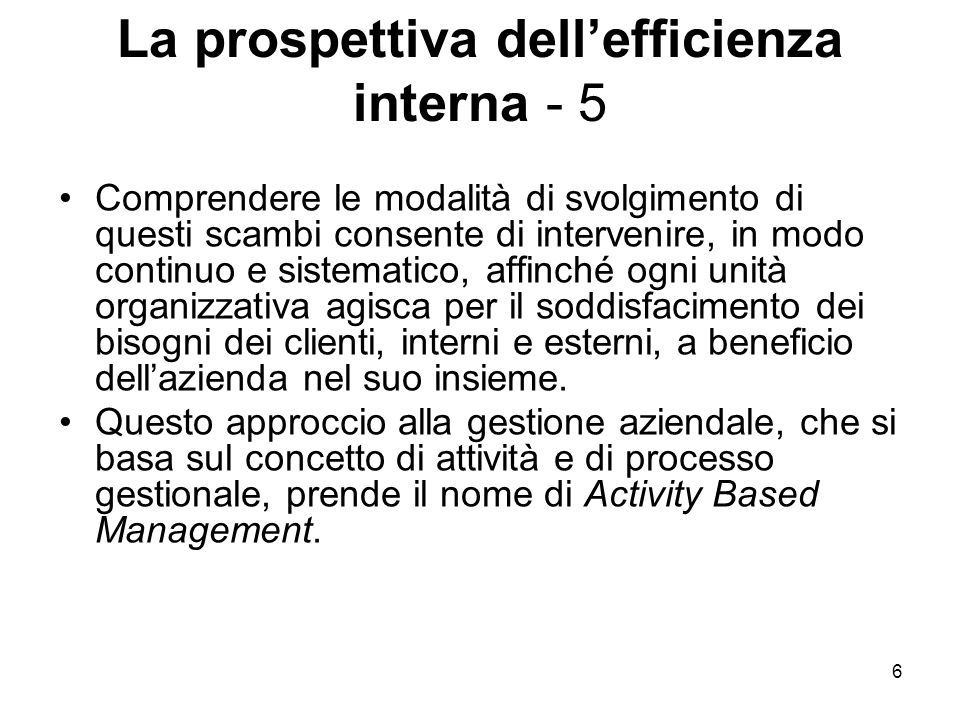 La prospettiva dell'efficienza interna - 5