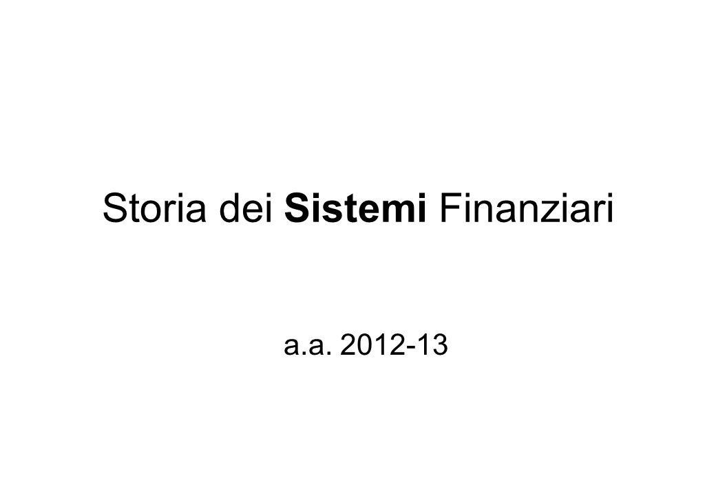 Storia dei Sistemi Finanziari