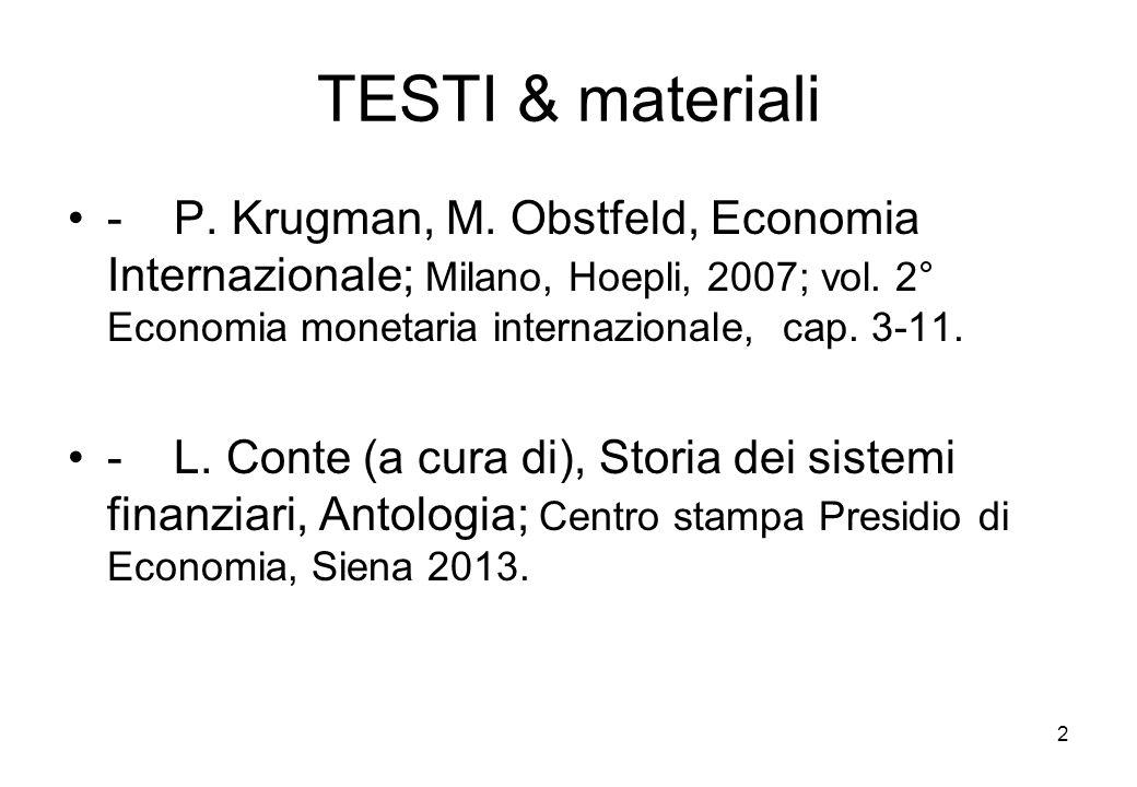 TESTI & materiali - P. Krugman, M. Obstfeld, Economia Internazionale; Milano, Hoepli, 2007; vol. 2° Economia monetaria internazionale, cap. 3-11.