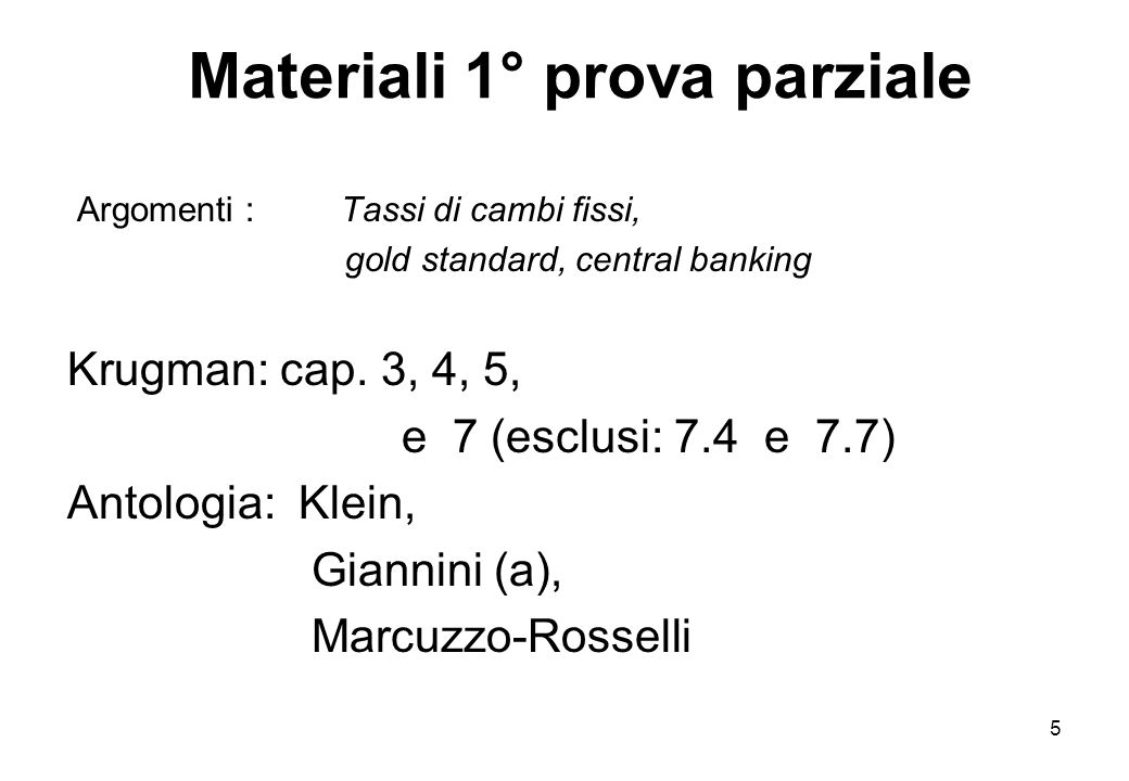 Materiali 1° prova parziale
