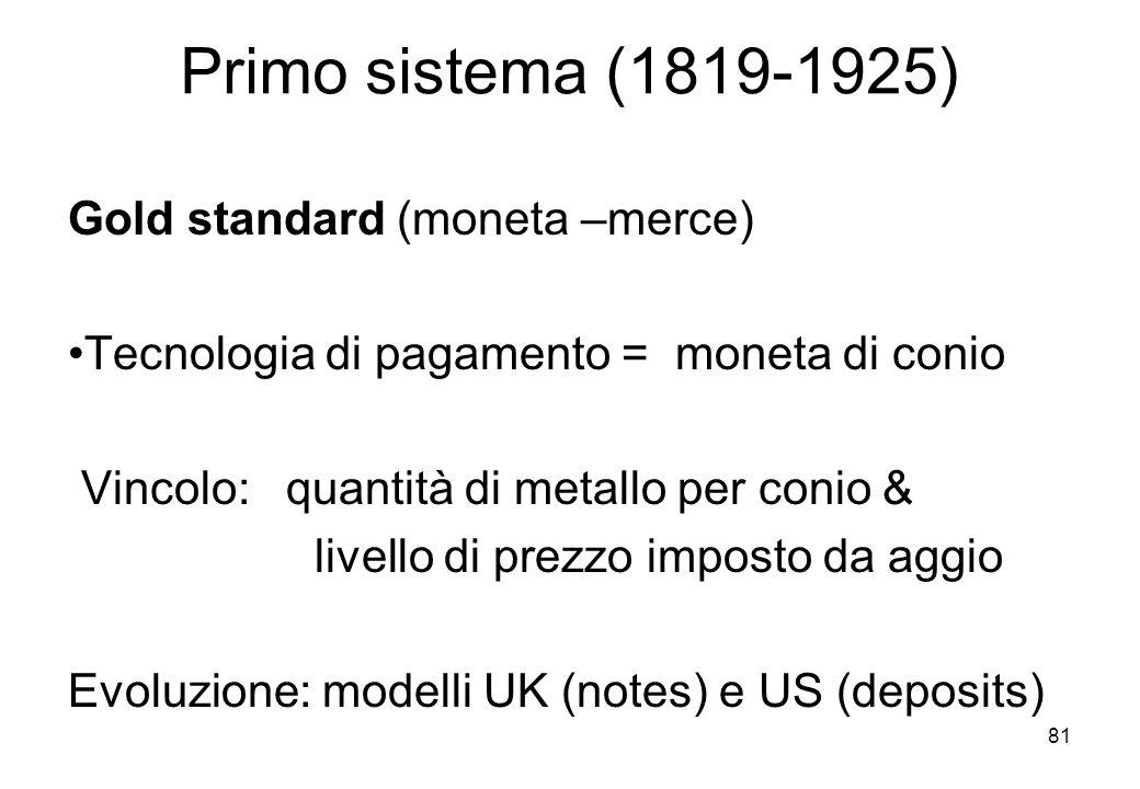 Primo sistema (1819-1925) Gold standard (moneta –merce)