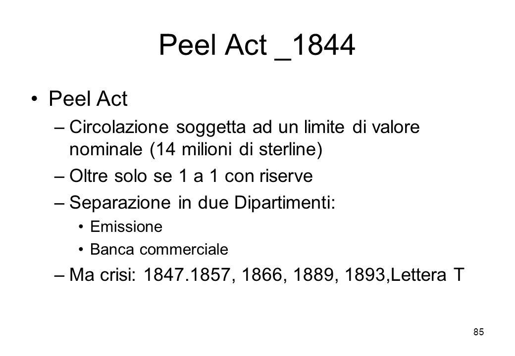Peel Act _1844 Peel Act. Circolazione soggetta ad un limite di valore nominale (14 milioni di sterline)