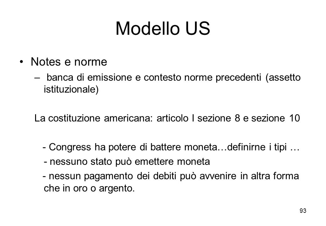 Modello US Notes e norme
