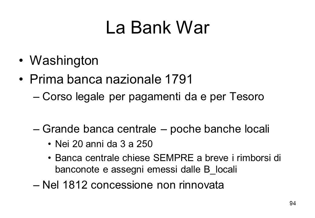 La Bank War Washington Prima banca nazionale 1791