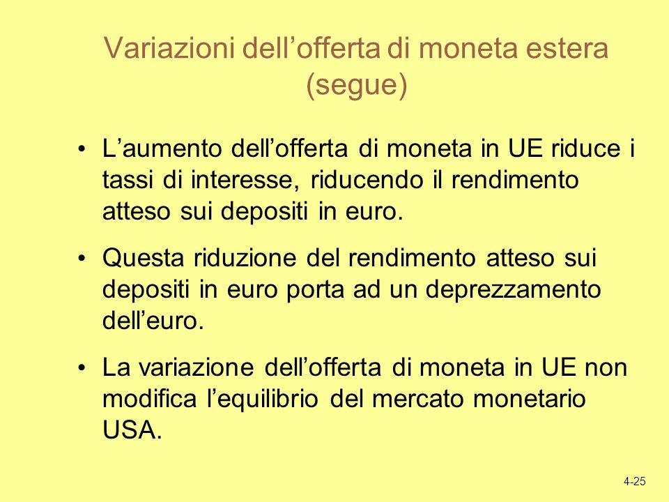 Variazioni dell'offerta di moneta estera (segue)