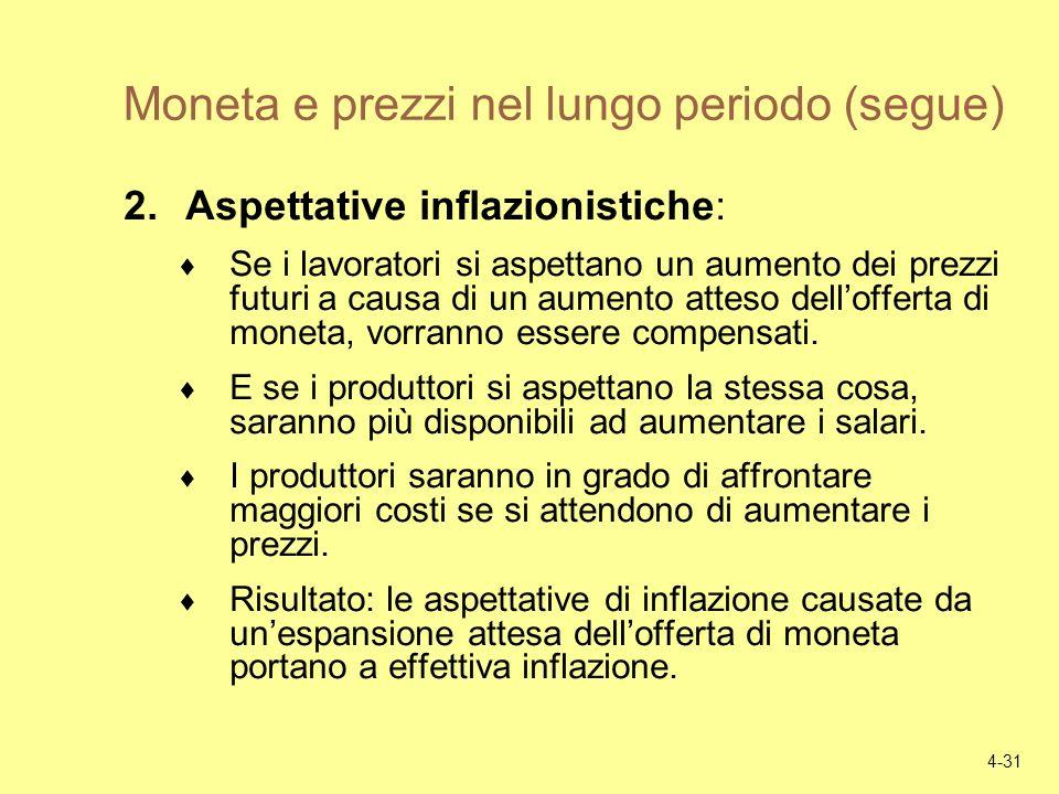 Moneta e prezzi nel lungo periodo (segue)