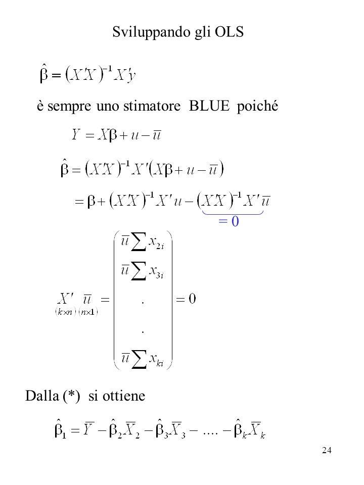 è sempre uno stimatore BLUE poiché = 0 Dalla (*) si ottiene