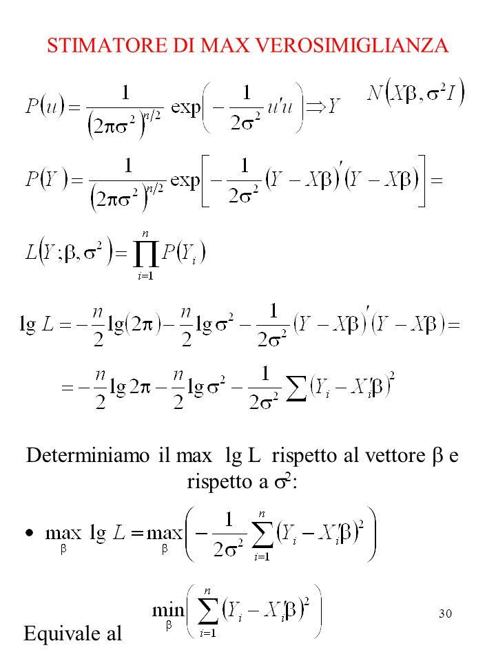 STIMATORE DI MAX VEROSIMIGLIANZA