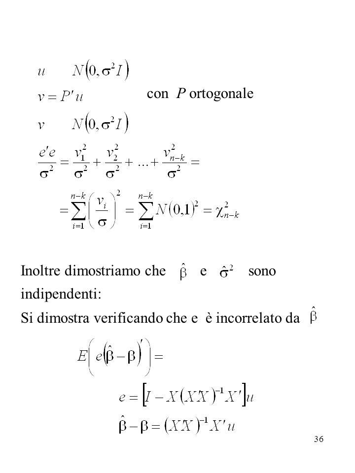 con P ortogonale Inoltre dimostriamo che e sono indipendenti: Si dimostra verificando che e è incorrelato da.