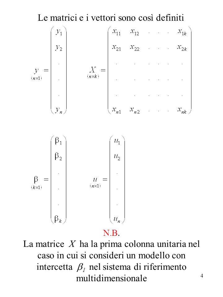 Le matrici e i vettori sono così definiti
