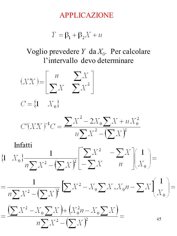 Voglio prevedere Y da X0. Per calcolare l'intervallo devo determinare