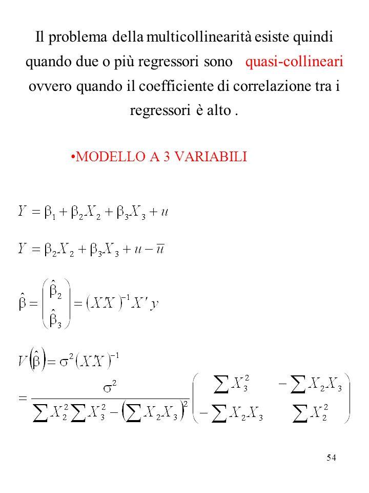 Il problema della multicollinearità esiste quindi quando due o più regressori sono quasi-collineari ovvero quando il coefficiente di correlazione tra i regressori è alto .