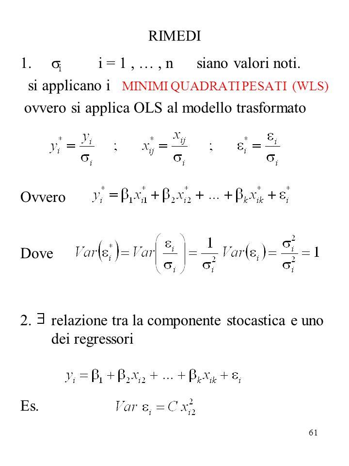 si i = 1 , … , n siano valori noti.