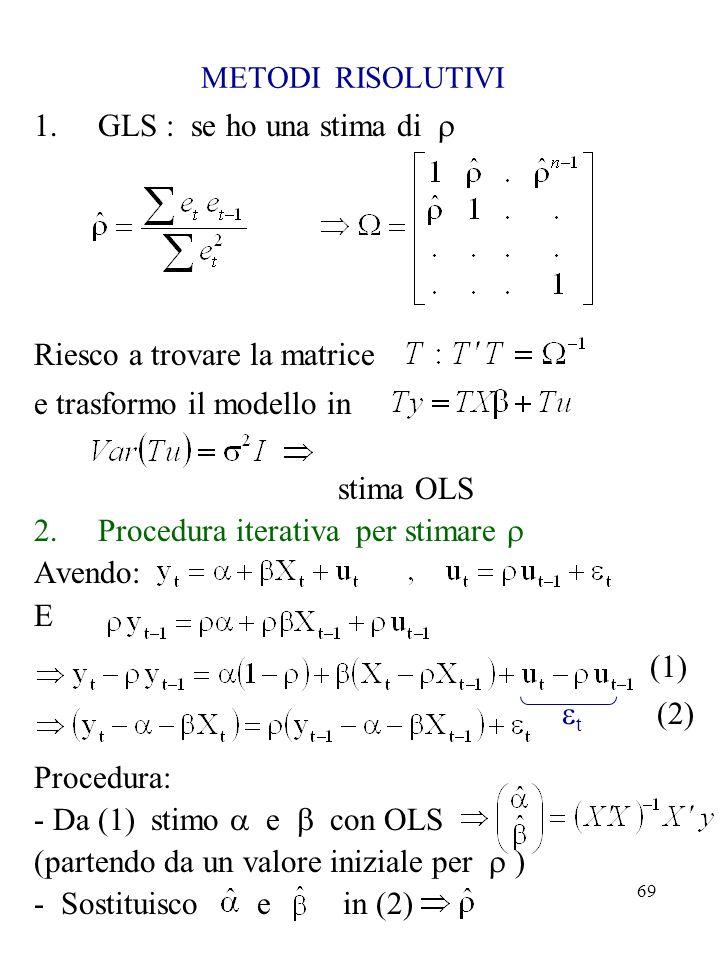 Riesco a trovare la matrice e trasformo il modello in stima OLS