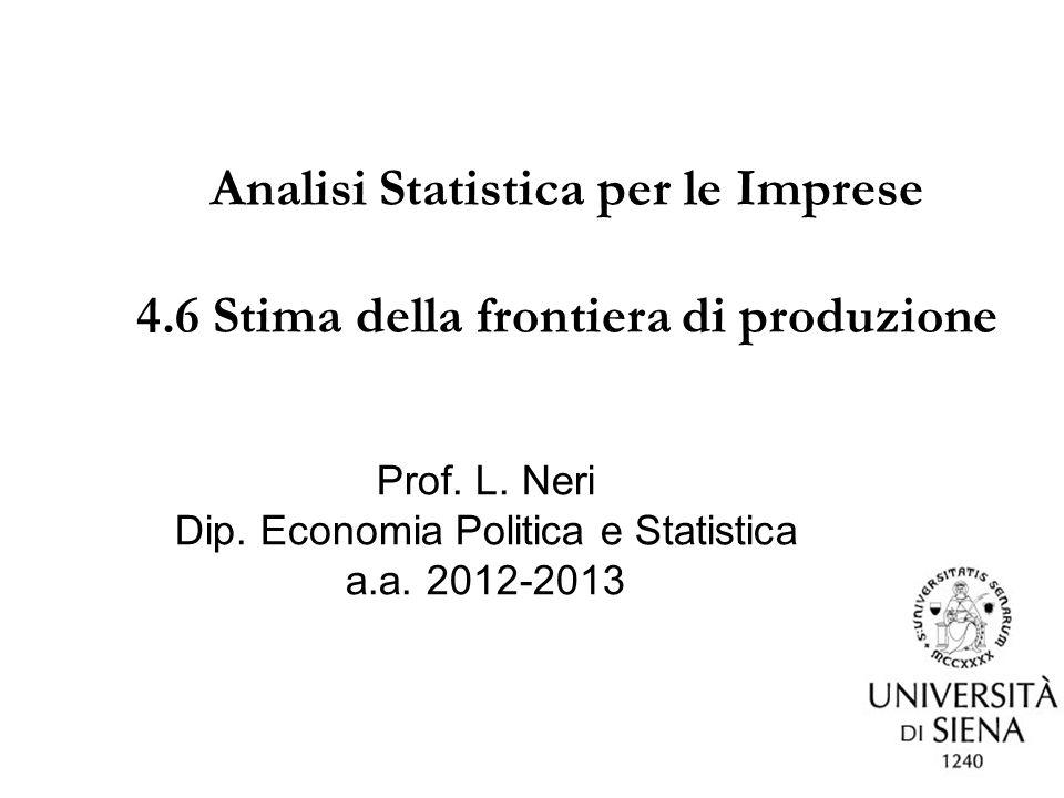 Dip. Economia Politica e Statistica