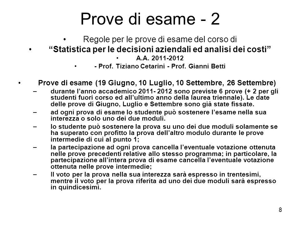 Prove di esame - 2 Regole per le prove di esame del corso di