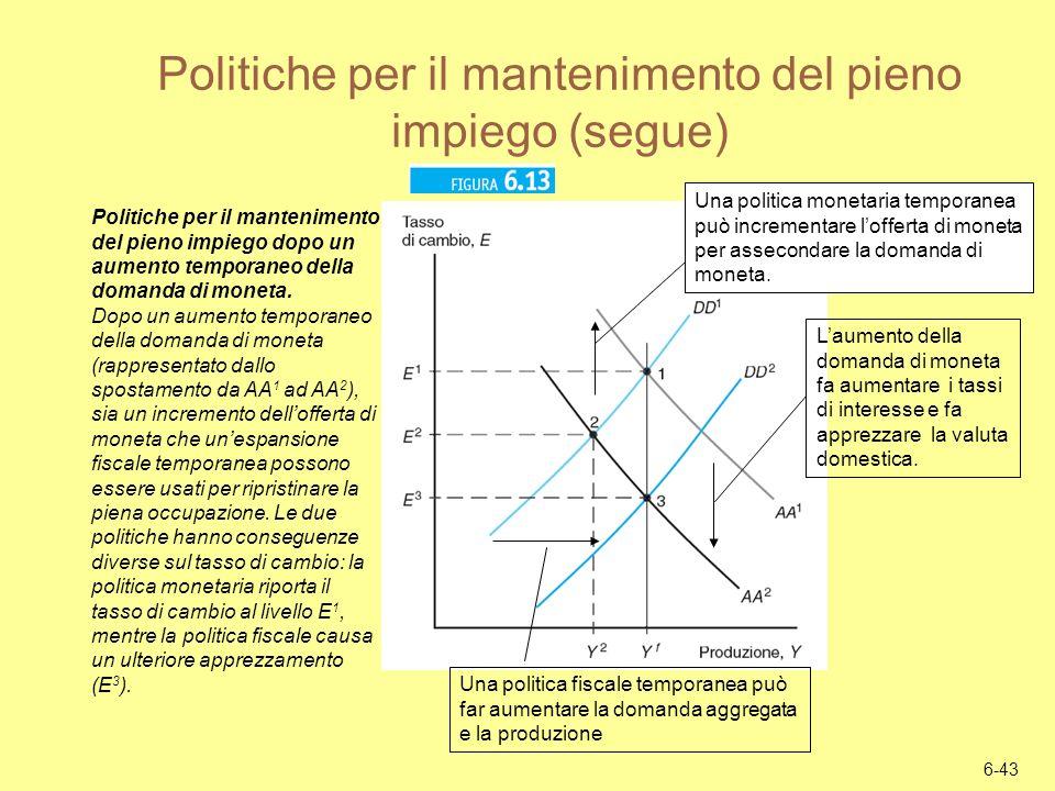 Politiche per il mantenimento del pieno impiego (segue)