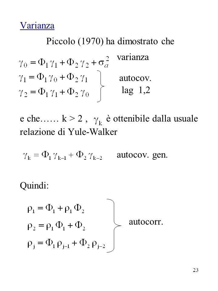 Piccolo (1970) ha dimostrato che