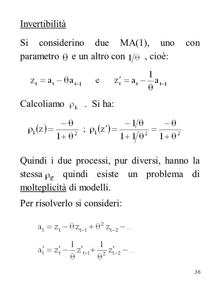 Invertibilità Si considerino due MA(1), uno con parametro e un altro con , cioè: Calcoliamo . Si ha: