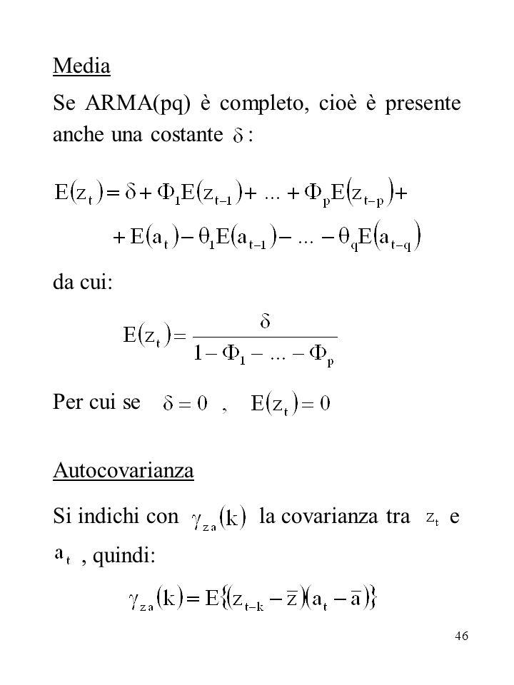 Media Se ARMA(pq) è completo, cioè è presente anche una costante : da cui: Per cui se. Autocovarianza.