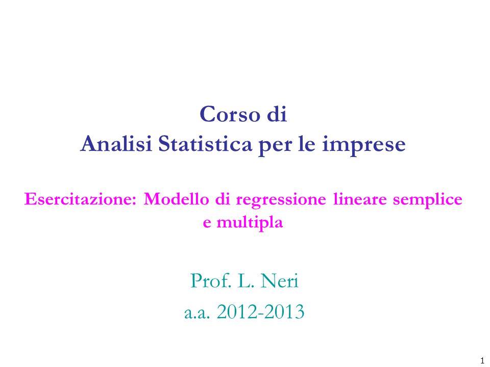 Corso di Analisi Statistica per le imprese